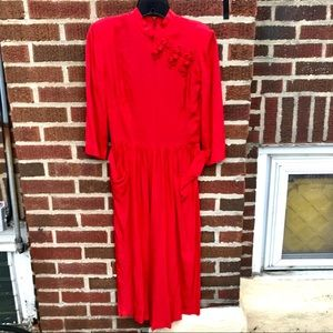 Vintage Long 70's Sleeve inches Maxi Dress Pockets